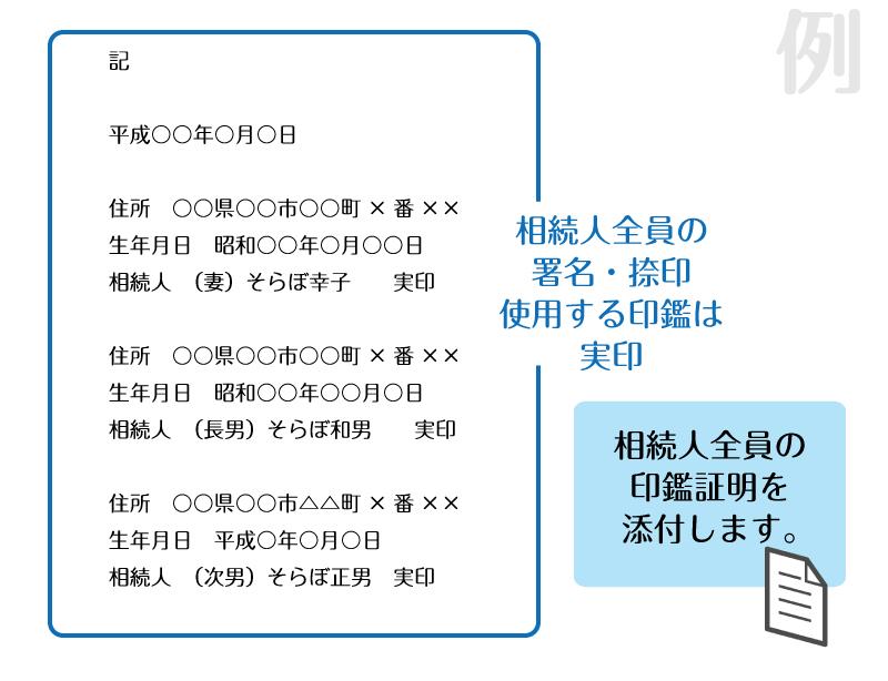例)通常の遺産分割協議書の相続人記載欄